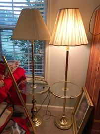#6	(3) Brass/Glass Floor Lamps   $65 each	 $195.00