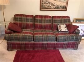 "#12	Clayton Marcus Burgandy/Green Sofa   80"" Long	 $100.00"