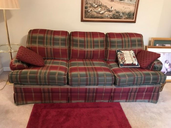 "#12Clayton Marcus Burgandy/Green Sofa   80"" Long $100.00"