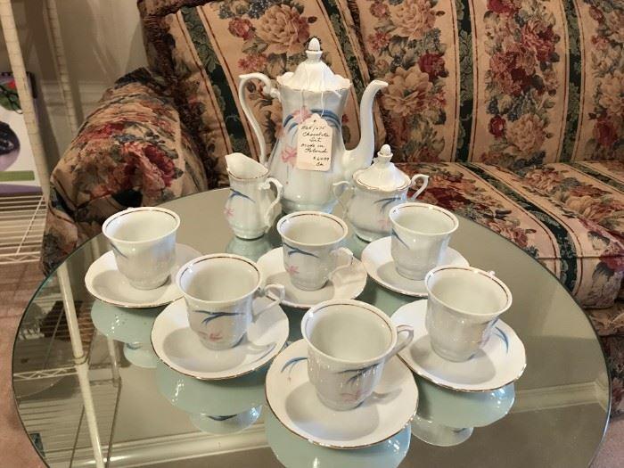#22Chocolate Set (Made in Poland) w/sugar/creamer  & 6 teacups/saucers $65.00