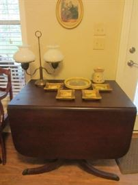 Vintage Duncan Phyfe drop leaf table, vintage double student lamp with milk glass hobnail shades, more