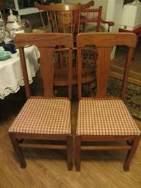 2 of 4 Antique Oak T-back chairs, more