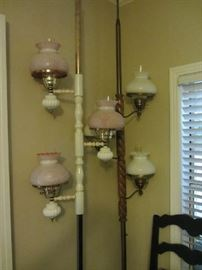 2 awesome vintage tension Pole Lamps with unique shades!!