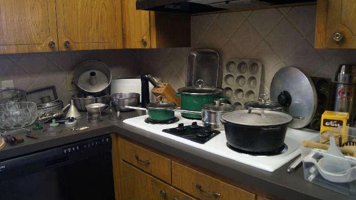 kitchen, bake ware, pots and pans