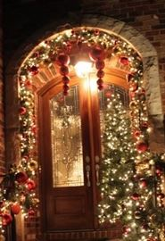 Indoor and outdoor pre-lit garland and ornaments.  Plug-in and Battery powered