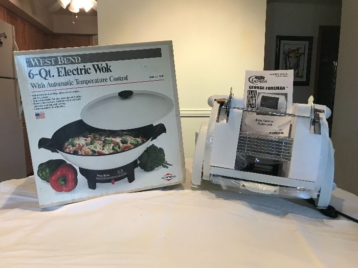 West Bend 6 Quart Electric Wok George Foreman Rotisserie   Both New/ In Box