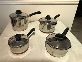 Three Revere Excel pots with lids:  1 quart, 2 quart and 3 quart One Revereware 1 quart pan with lid