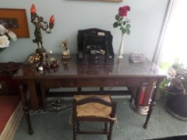 Mahogany writing desk wide side shelves  53.5  x 20.5 d.molded edge fitted with glass panel, single drawer with brass pll.