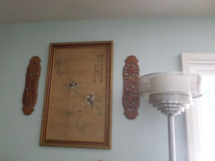 Asian Teak Wall Sconces & Picture, Art Deco Free Standing Lamp