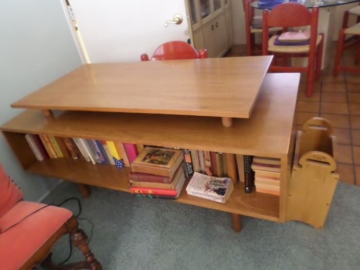 Mid-Century teak  multilevel  desk  designed by  Milo Baughman