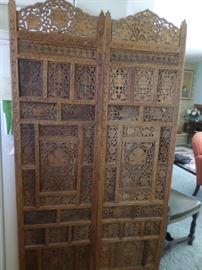 "Mughal Style  carved teakwood 4 panel floor screen (Indonesian)  Each panel 72""h x 20"" wide,excellent original condition , 20th century"