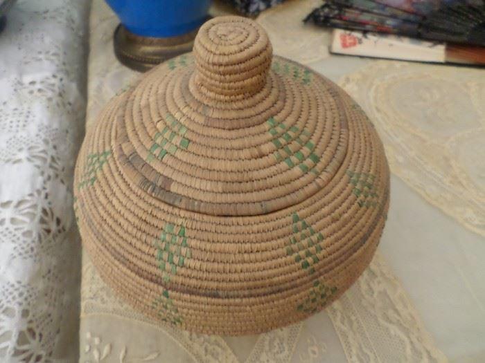Vintage Alaskan Handmade Basket-signed
