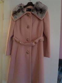 1960's Wool Coat with Chinchilla Collar