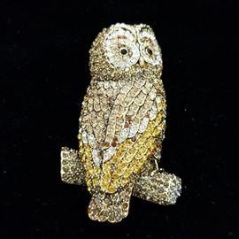 Joan Rivers pave crystal rhinestone owl bird pin