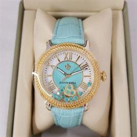 Judith Ripka tiffany blue light turquoise gold heart ladies watch