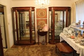 Beautiful Display Cases. We have nine display cabinets throughout the house.  We have three large like these, 4 large oak, and two smaller, but same height: oak and cherry.