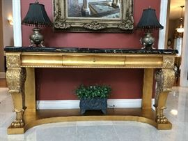 Gilded Georgian style console w/ paw feet and marble top