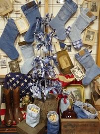 "Handmade ""Jeans"" Christmas Stockings and Bags, Handmade Christmas Tree with demin/plaid/lampshade frames, Vintage Photos"