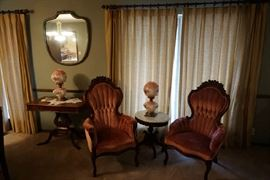 formal antique chairs, marble top table, hurricane la,ps