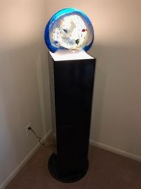 "Murano Aquarium Sculpture Signed by Elio Raffaeli - RARE-JUMBO SIZE - 15""x16"" on lighted pedestal"