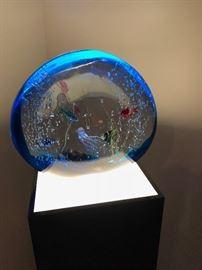 """Murano Aquarium Sculpture Signed by Elio Raffaeli - RARE-JUMBO SIZE - 15""""x16"""" on lighted pedestal"""