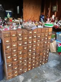 card catalog, includes missing drawer pulls.
