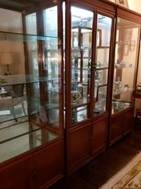 Beautiful All Glass & Wood Illuminated Display Cabinet