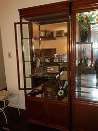 Beautiful All Glass & Wood Illuminated Display Cabinet