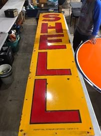 Extremely Rare 12 foot enamel Shell Oil Gasoline sign