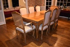 DINING TABLE W/6 CHAIRS & 2 ARMCHAIRS