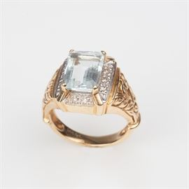 4: 14K AQUAMARINE DIAMOND DESIGNER RING