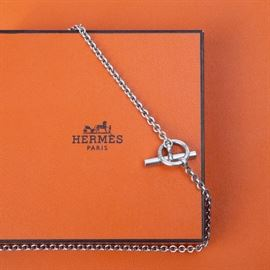 "7: HERMES STERLING TOGGLE NECKLACE 16"" LONG"