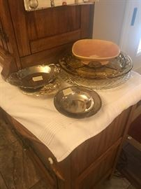 Silver, silver plate, glass lazy Susan, platters
