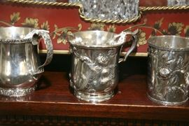 STERLING AND COIN SILVER CHRISTENING MUGS