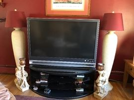 Pair of Floor Lamps, TV, TV Stand, Angel CandleHolders