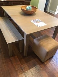 Modern table and bench with additional leaf