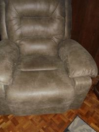 Gray leather platform rocker recliner