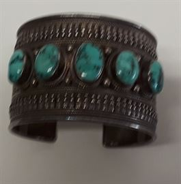 Rare Antique Navajo Turquoise and Sterling Bracelet