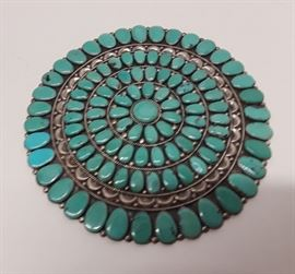 Antique Zunni Signed JW Sterling and Turquoise Large Pin