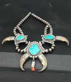 Rare Antique Navajo Squash Blossom necklace, (Bear Claw, Sterling, Turquoise, Coral