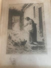 RARE  J.F. Millet Engraving  circa 1890