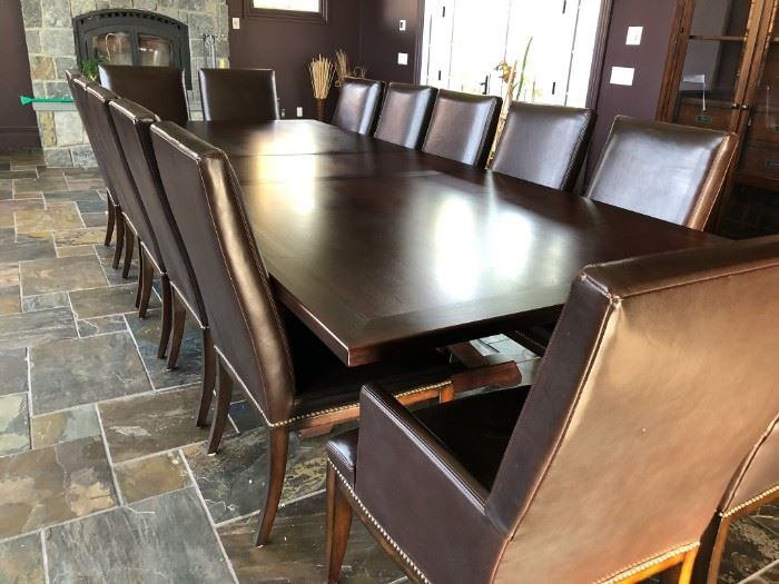MV Customs Millwork custom table with 14 Thomasville  Wanderlust Leather Chairs.  GORGEOUS for a board room or farmhouse table!!!