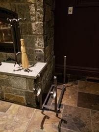 Firewood holder & fireplace tools