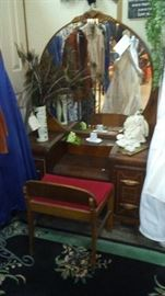 Mahogany Waterfall Vanity and bench, original glass