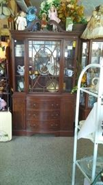 Another Mahogany China Cabinet, dolls and assorted Items