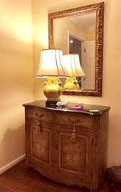 Entry Console Marble top / Ornate Wall Mirror