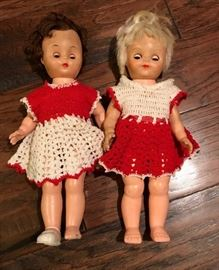 1 Set of Antique 13 Plastic Dolls with red  white ...