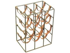12 Bottle Iron Leather Wine Rack by UMANOFF