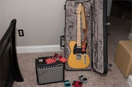 3. Fender Telecaster Electric Guitar with Amp, Case and Pedals