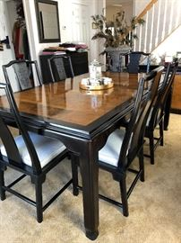 Century Burl wood Lacquer Chin Hua Dining Table and 6 chairs